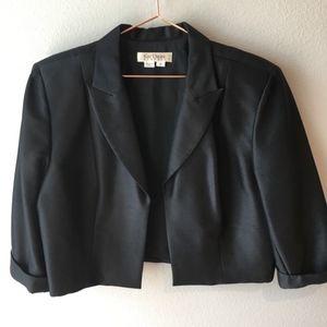 Kay Unger Black Silk Cropped Blazer Career